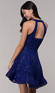 Image of sequin-lace high-neck short holiday party dress. Style: CT-3592TM8AT3 Back Image