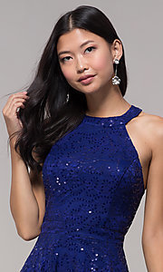 Image of sequin-lace high-neck short holiday party dress. Style: CT-3592TM8AT3 Detail Image 1