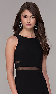 Image of sheer-waist high-neck short homecoming party dress. Style: CD-GL-G772S Detail Image 1