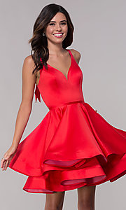 Image of Faviana v-neck red homecoming dress with cut outs. Style: FA-S10161 Front Image