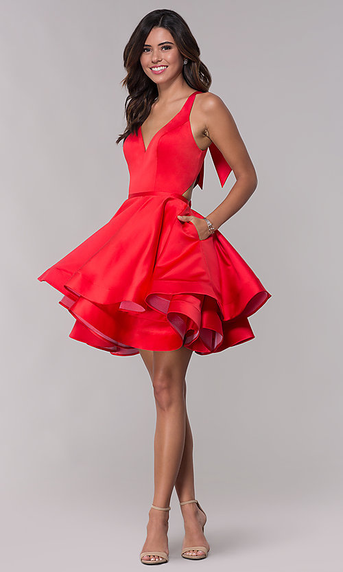 Image of Faviana v-neck red homecoming dress with cut outs. Style: FA-S10161 Detail Image 3
