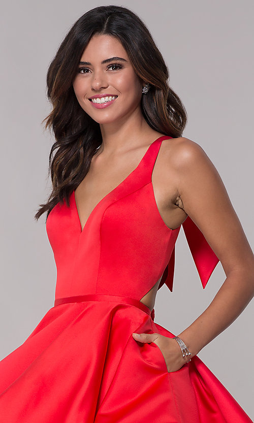 Image of Faviana v-neck red homecoming dress with cut outs. Style: FA-S10161 Detail Image 1