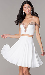Image of off-shoulder corset-back Faviana homecoming dress. Style: FA-S10179 Front Image