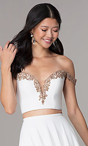 Image of off-shoulder corset-back Faviana homecoming dress. Style: FA-S10179 Detail Image 1