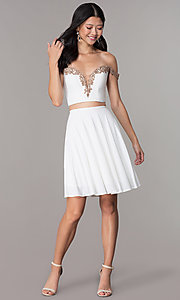 Image of off-shoulder corset-back Faviana homecoming dress. Style: FA-S10179 Detail Image 3