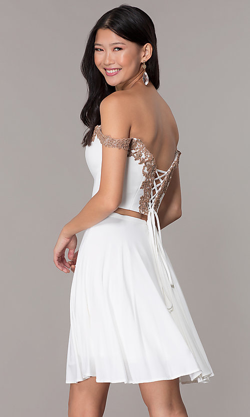 Image of off-shoulder corset-back Faviana homecoming dress. Style: FA-S10179 Back Image