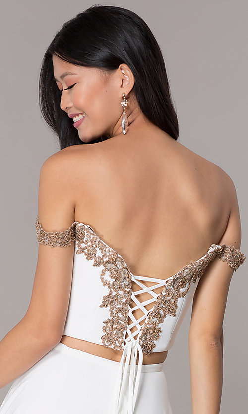Image of off-shoulder corset-back Faviana homecoming dress. Style: FA-S10179 Detail Image 2