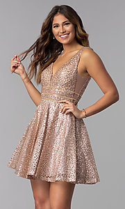 Image of glitter-mesh short homecoming dress with sheer sides. Style: DQ-3086 Front Image