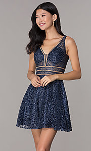Image of glitter-mesh short homecoming dress with sheer sides. Style: DQ-3086 Detail Image 5