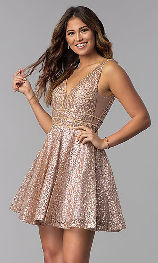 6a08754f40f Glitter-Mesh Short Homecoming Dress with Sheer Sides