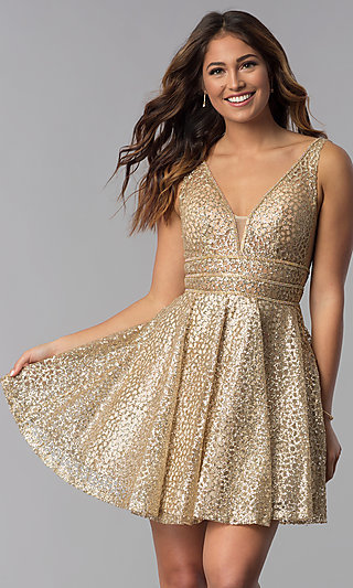 Glitter-Mesh Short Homecoming Dress with Sheer Sides
