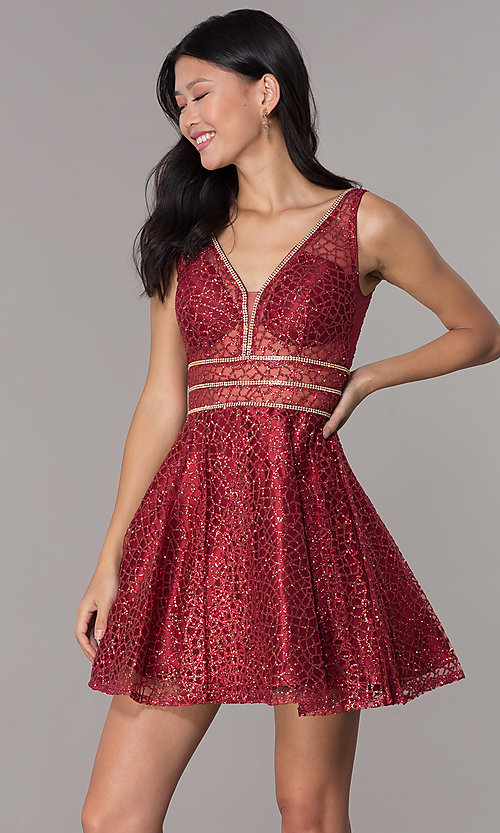 Image of glitter-mesh short homecoming dress with sheer sides. Style: DQ-3086 Detail Image 6
