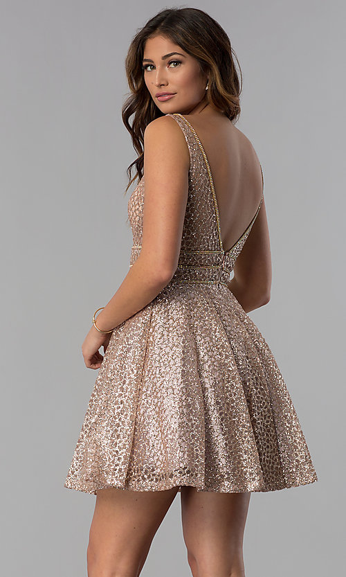 Image of glitter-mesh short homecoming dress with sheer sides. Style: DQ-3086 Back Image