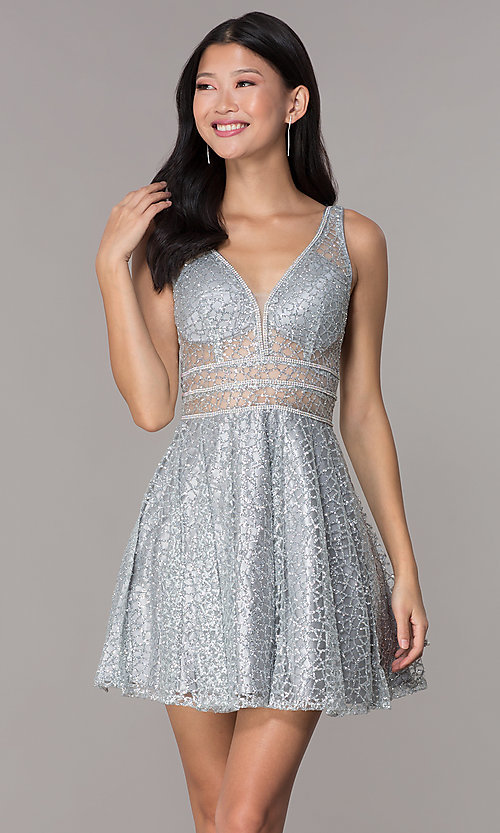 Image of glitter-mesh short homecoming dress with sheer sides. Style: DQ-3086 Detail Image 1