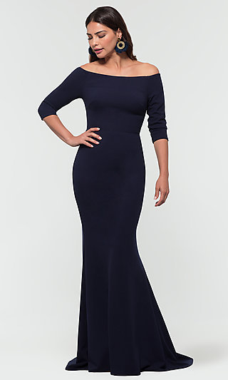 Long Off-Shoulder Bridesmaid Dress with Sleeves