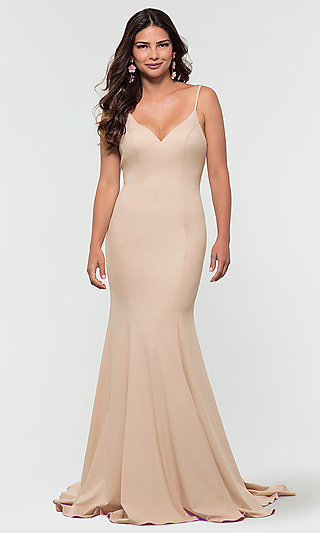 Back-Bow Long Kleinfeld Jersey Bridesmaid Dress