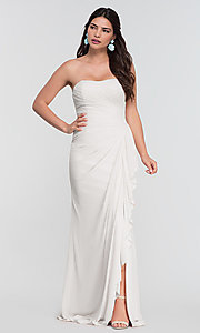 Image of long ruched bridesmaid dress with removable straps. Style: KL-200126 Detail Image 4