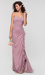 Image of long ruched bridesmaid dress with removable straps. Style: KL-200126 Front Image