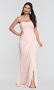 Image of long ruched bridesmaid dress with removable straps. Style: KL-200126 Detail Image 2