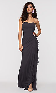 Image of long ruched bridesmaid dress with removable straps. Style: KL-200126 Detail Image 6