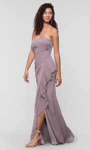 Image of long ruched bridesmaid dress with removable straps. Style: KL-200126 Detail Image 7