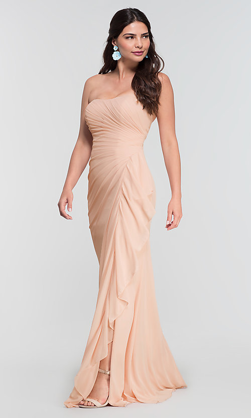 Image of long ruched bridesmaid dress with removable straps. Style: KL-200126 Detail Image 8