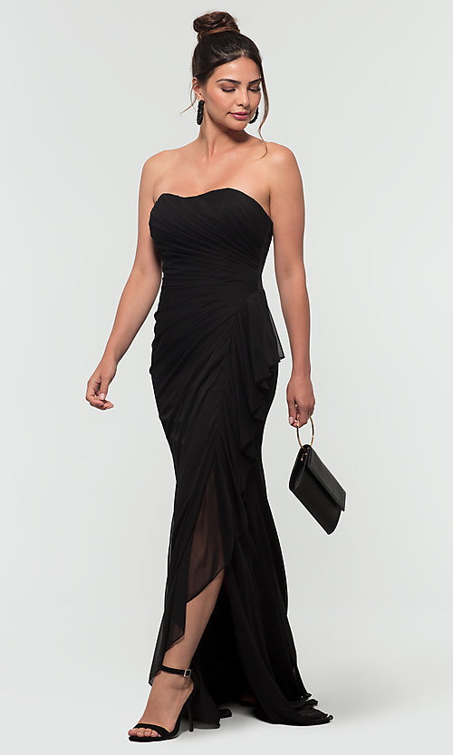 Image of long ruched bridesmaid dress with removable straps. Style: KL-200126 Detail Image 3