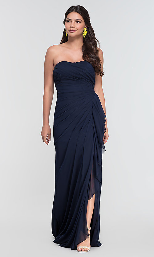 Image of long ruched bridesmaid dress with removable straps. Style: KL-200126 Detail Image 1