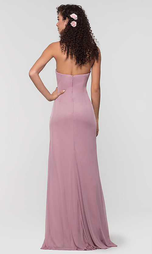 Image of long ruched bridesmaid dress with removable straps. Style: KL-200126 Back Image