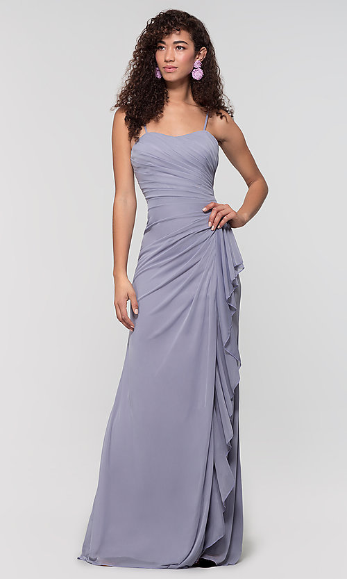 Image of long ruched bridesmaid dress with removable straps. Style: KL-200126 Detail Image 5