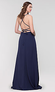 Image of Kleinfeld open-back long bridesmaid dress. Style: KL-200129 Front Image