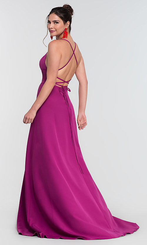Image of Kleinfeld open-back long bridesmaid dress. Style: KL-200129 Detail Image 4