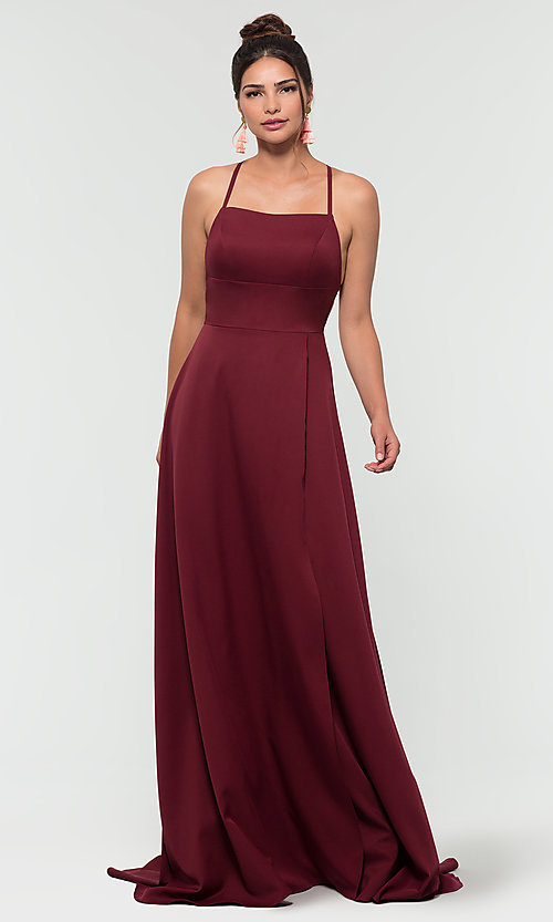Image of Kleinfeld open-back long bridesmaid dress. Style: KL-200129 Detail Image 6