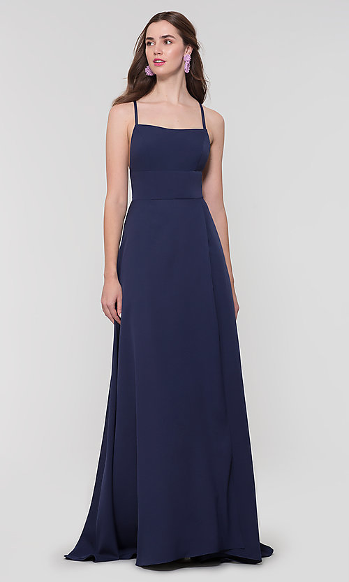 Image of Kleinfeld open-back long bridesmaid dress. Style: KL-200129 Back Image