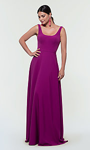Image of scoop-neck long bridesmaid dress by Kleinfeld. Style: KL-200130 Detail Image 4