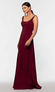 Image of scoop-neck long bridesmaid dress by Kleinfeld. Style: KL-200130 Front Image