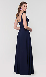 Image of scoop-neck long bridesmaid dress by Kleinfeld. Style: KL-200130 Detail Image 8