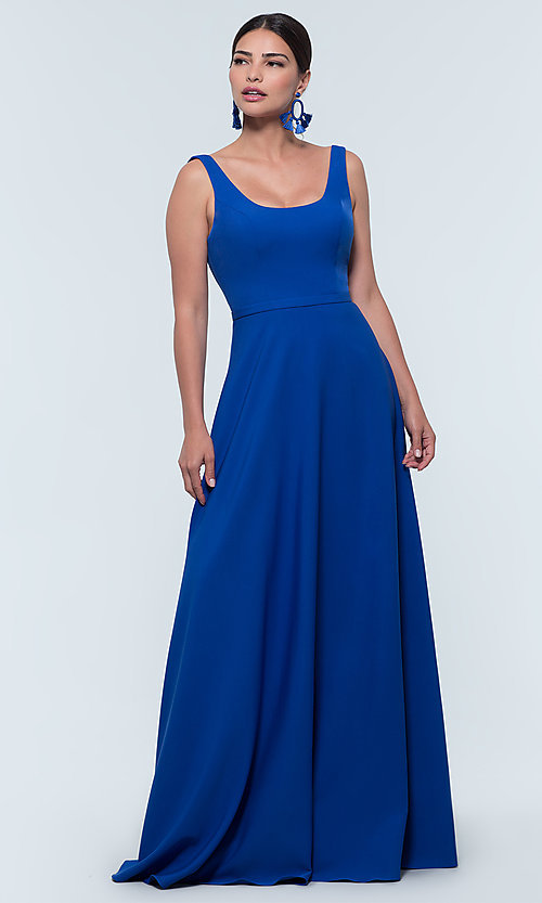 Image of scoop-neck long bridesmaid dress by Kleinfeld. Style: KL-200130 Detail Image 1