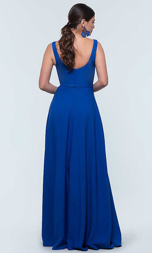Image of scoop-neck long bridesmaid dress by Kleinfeld. Style: KL-200130 Back Image