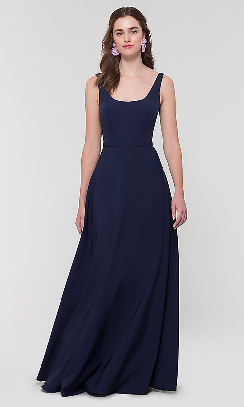 Image of scoop-neck long bridesmaid dress by Kleinfeld. Style: KL-200130 Detail Image 7