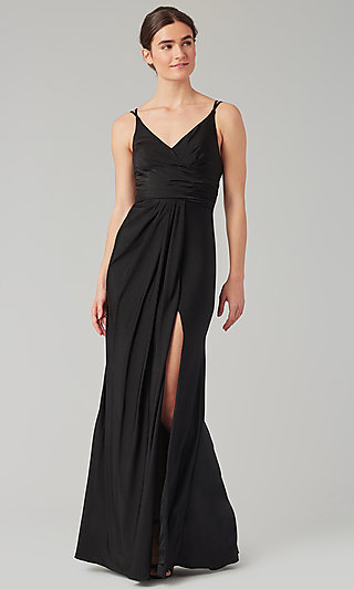 Long Bridesmaid Dress with Faux-Wrap Bodice