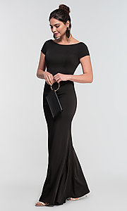Image of short-sleeve long bridesmaid dress by Kleinfeld. Style: KL-200133 Front Image