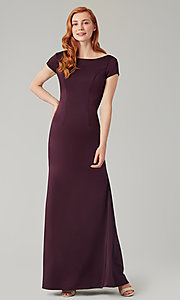 Image of short-sleeve long bridesmaid dress by Kleinfeld. Style: KL-200133 Detail Image 7