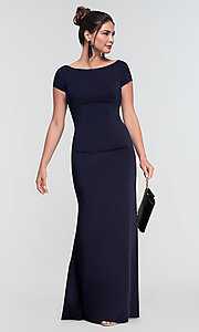 Image of short-sleeve long bridesmaid dress by Kleinfeld. Style: KL-200133 Detail Image 3