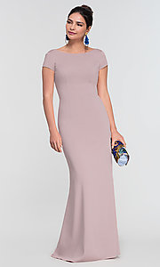 Image of short-sleeve long bridesmaid dress by Kleinfeld. Style: KL-200133 Detail Image 8