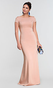 Image of short-sleeve long bridesmaid dress by Kleinfeld. Style: KL-200133 Detail Image 4