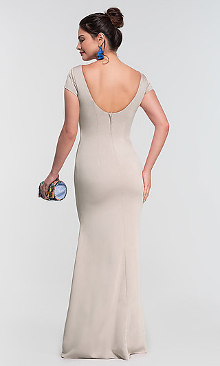 Short-Sleeve Long Bridesmaid Dress by Kleinfeld