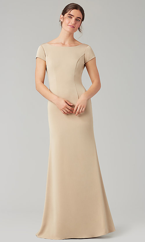 Image of short-sleeve long bridesmaid dress by Kleinfeld. Style: KL-200133 Detail Image 2