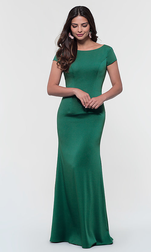 Image of short-sleeve long bridesmaid dress by Kleinfeld. Style: KL-200133 Detail Image 6