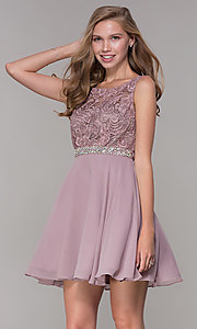 Image of embroidered-bodice short mocha homecoming dress. Style: DQ-PL-3098 Front Image